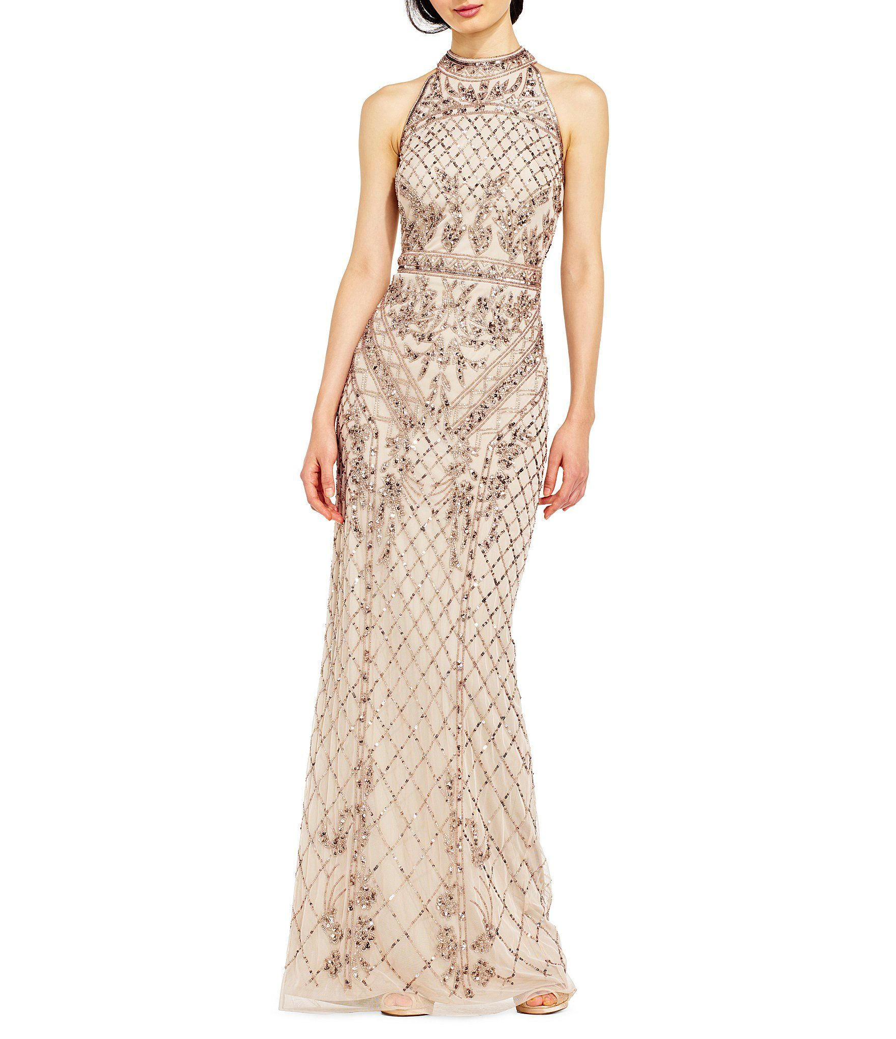 Adrianna Papell Halter Beaded Column Gown | Adrianna papell ...