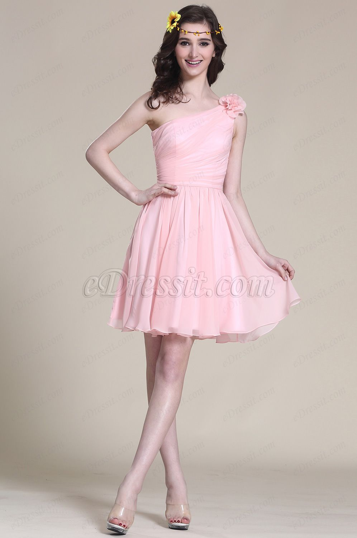 Floral One Shoulder Pink Bridesmaid Dress Party Dress (07151901 ...