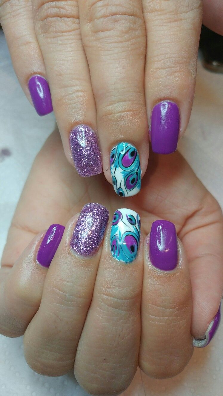 Purple peacock nails @bienetre in 2019 | Feather nails ...