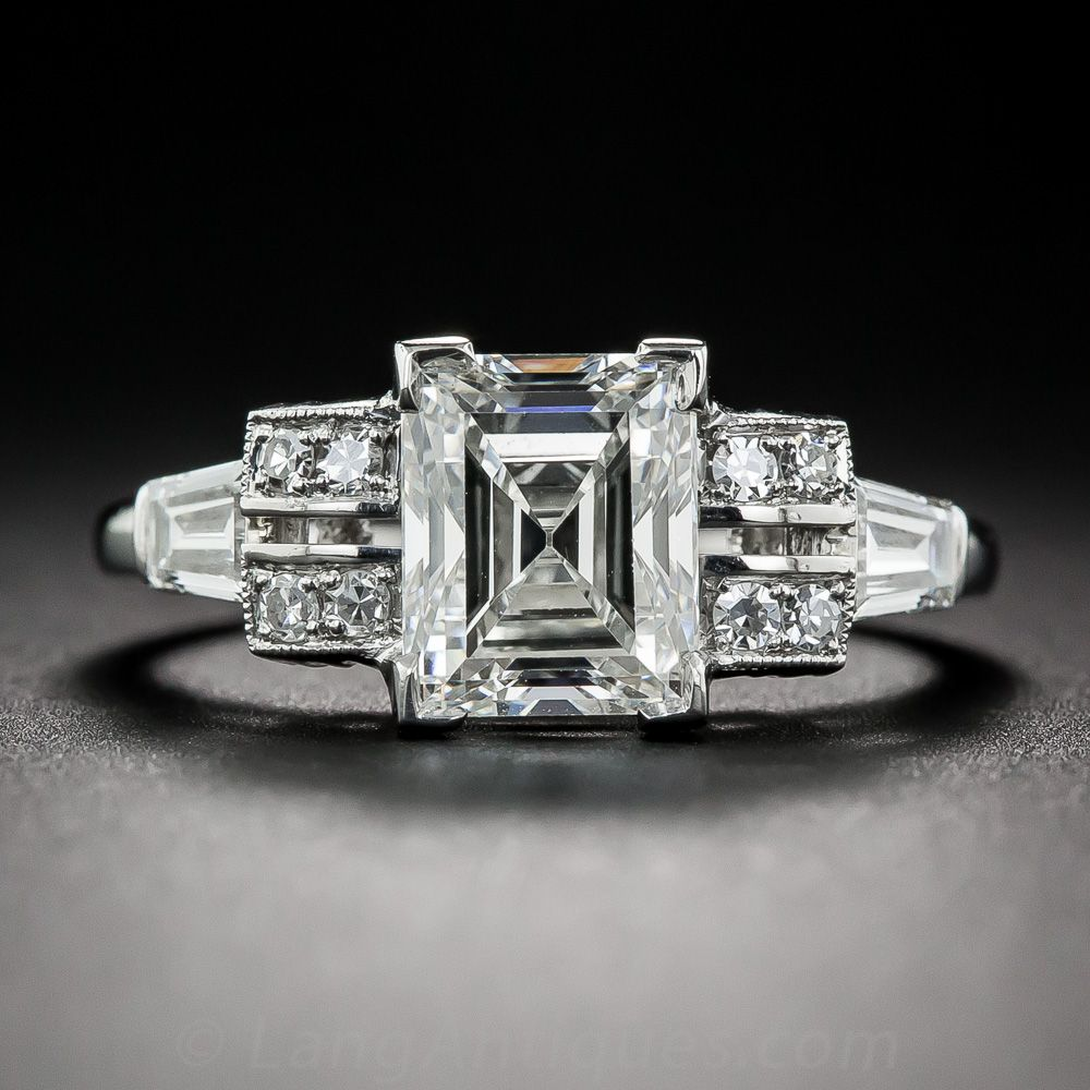 2.24 Carat Rectangular Step-Cut Diamond Ring GIA G VS2 - 10-1-7378 - Lang Antiques