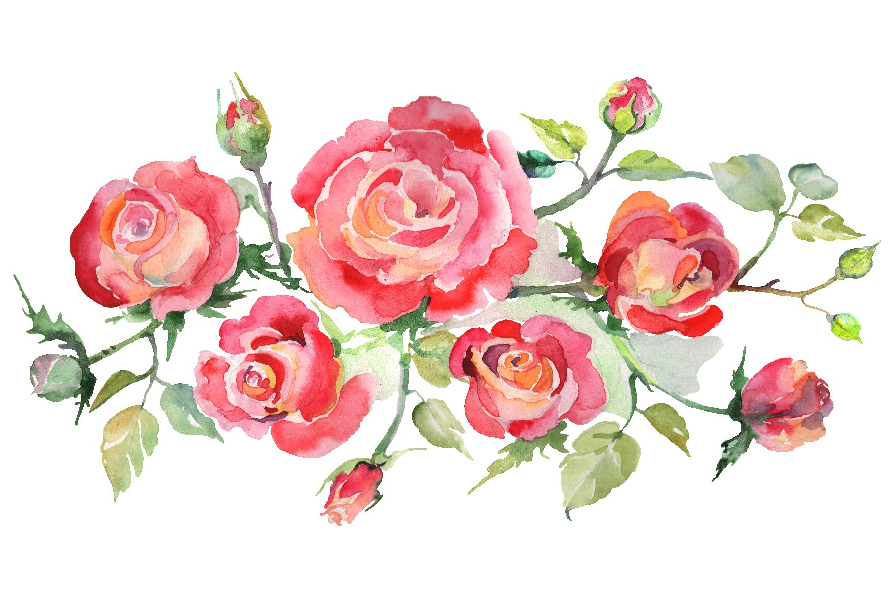Bouquet With Roses Red Watercolor Png Graphic By Mystocks Creative Fabrica Watercolor Watercolor Rose Illustration