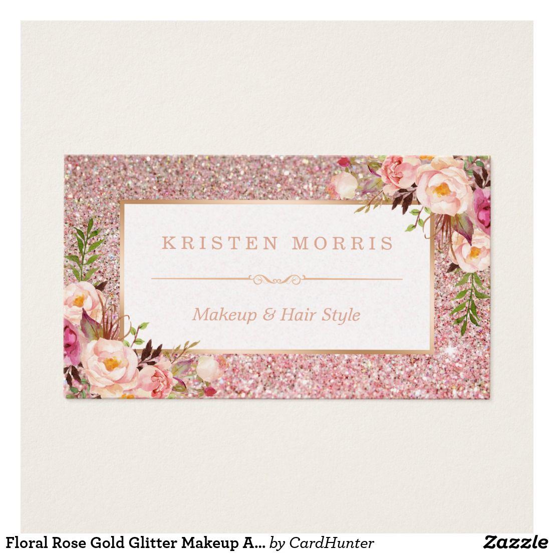 Floral Rose Gold Glitter Makeup Artist Hair Salon Business Card ...