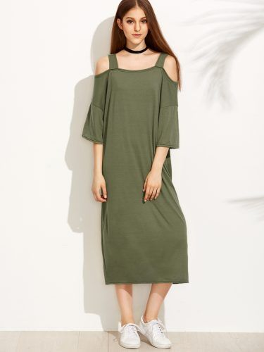 Green Cold Shoulder Shift Dress