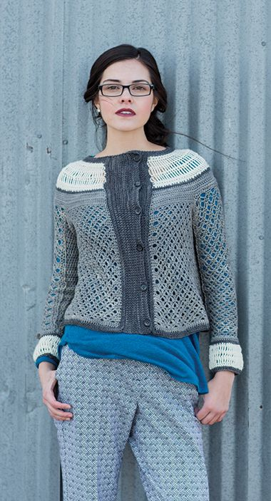 Exquisite tailoring and fine detail make this crochet cardigan a delightful…