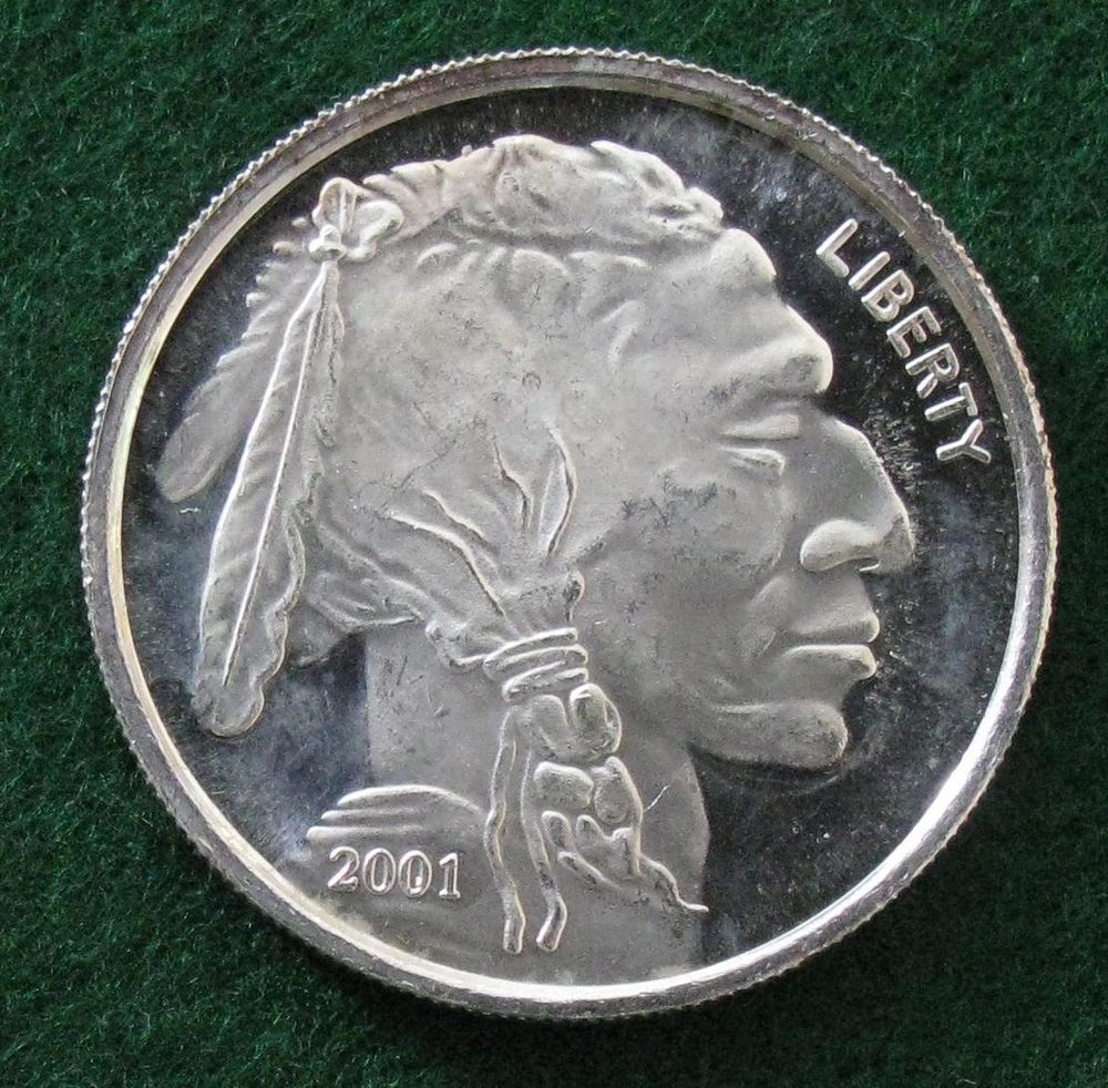 2001 Indian Head Buffalo Proof Like 1 Oz 999 Silver Round Silver Bullion Silver Rounds Silver Bars