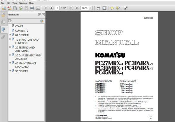 Komatsu Pc27mrx 1 Pc30mrx 1 Pc35mrx 1 Pc40mrx 1 Pc45mrx 1 Excavator Shop Manual Sebm016808 In 2020 Komatsu Repair Manuals Manual