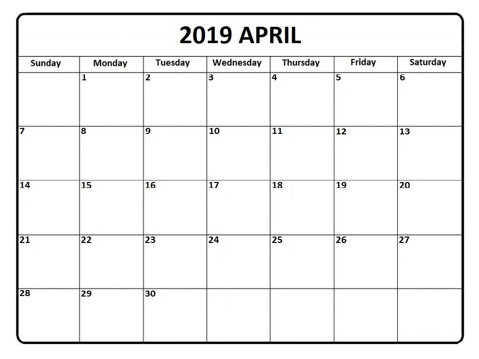 Printable April 2019 Calendar For Waterproof Template Monthly