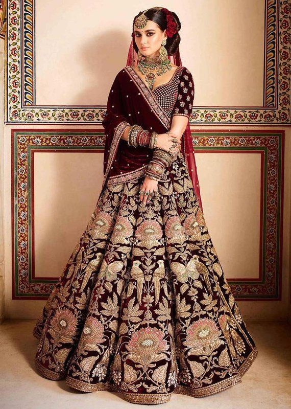 bac7e4005c Buy Indian Designer Embroidered Maroon Velvet Bridal Lehenga Choli ...