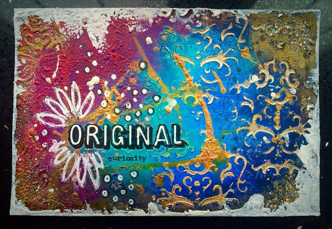 ICAD day 2 #art #acrylic #artcards #color #colour #indexcards #indexcardart #icad #icad2016 #layers #mixedmedia #mixedmediaart #neocolor2 #paint #pen #dinawakleypaint #metalliclustre