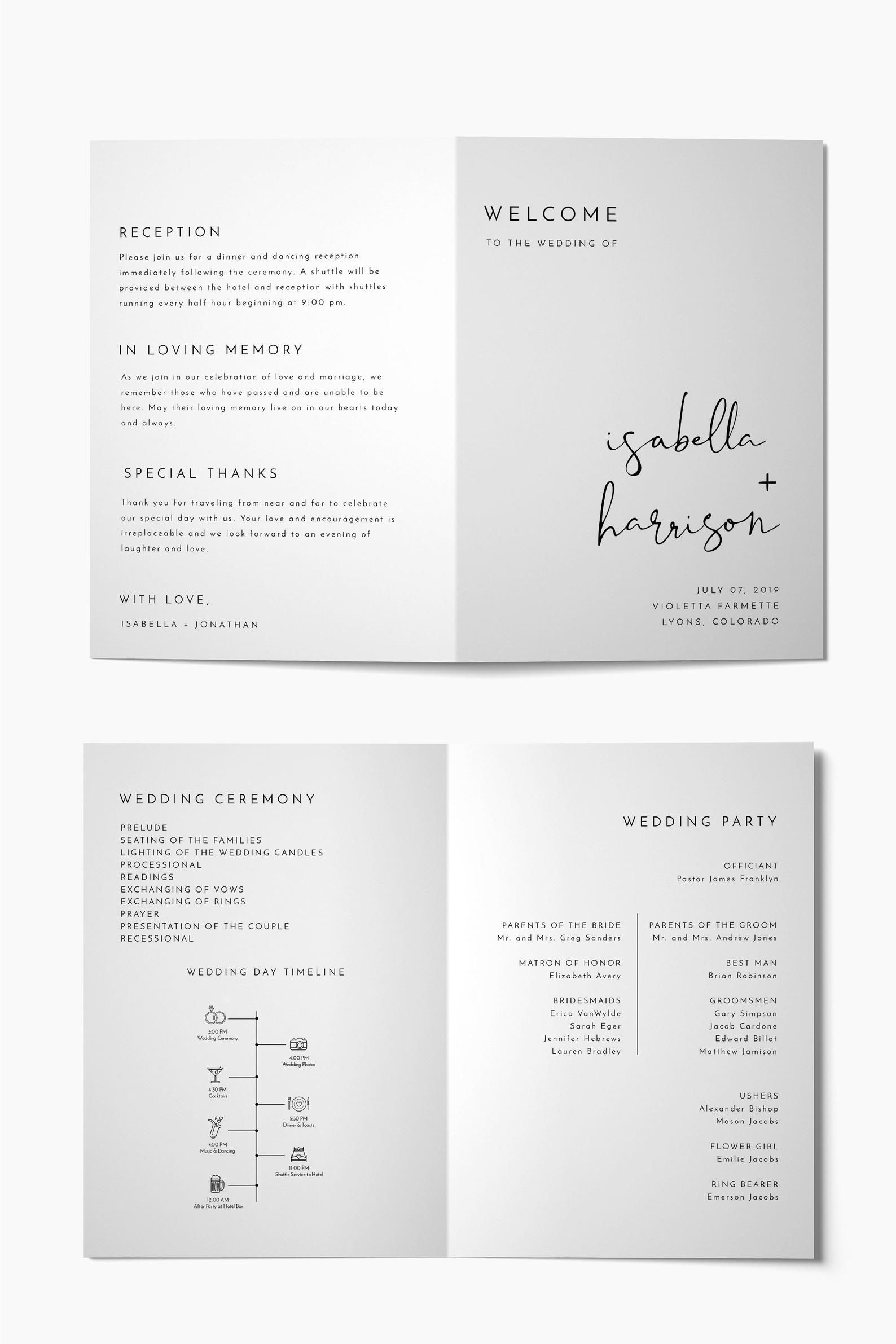 Adella Minimal Foldable Wedding Program Timeline Template Wedding Program Template Folded Wedding Timeline Printable Templett Program Wedding Programs Wedding Programs Template Wedding Timeline Printable