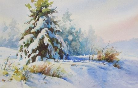 Watercolor Demonstration Of Painting Snow By Roland Lee Painting