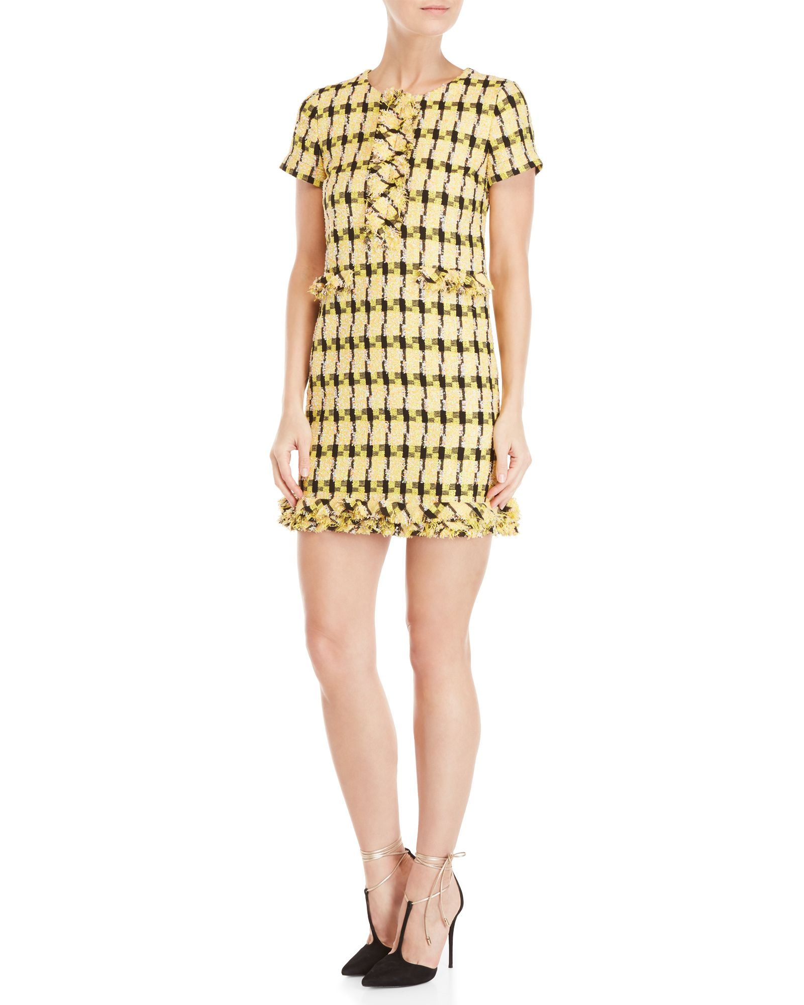 4184ce1a46 Yellow Tweed Short Sleeve Shift Dress in 2019 | *Apparel ...