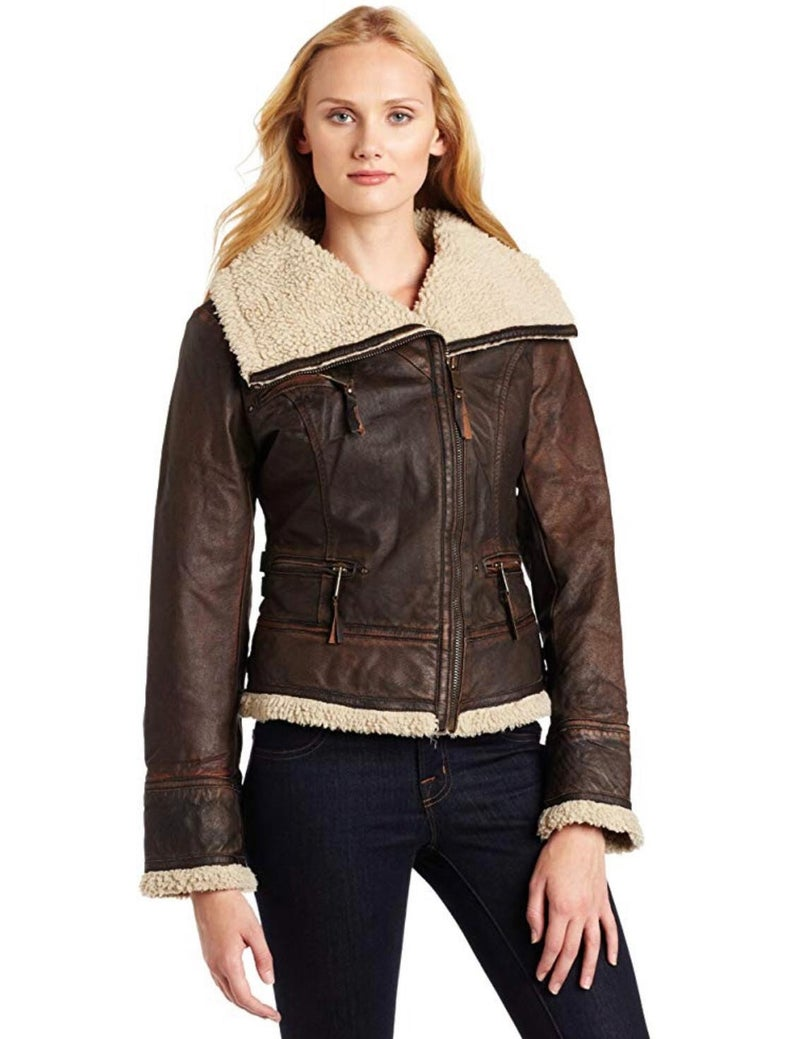 Sherpa Lined Leather Jacket Women's, Brown Real Leather