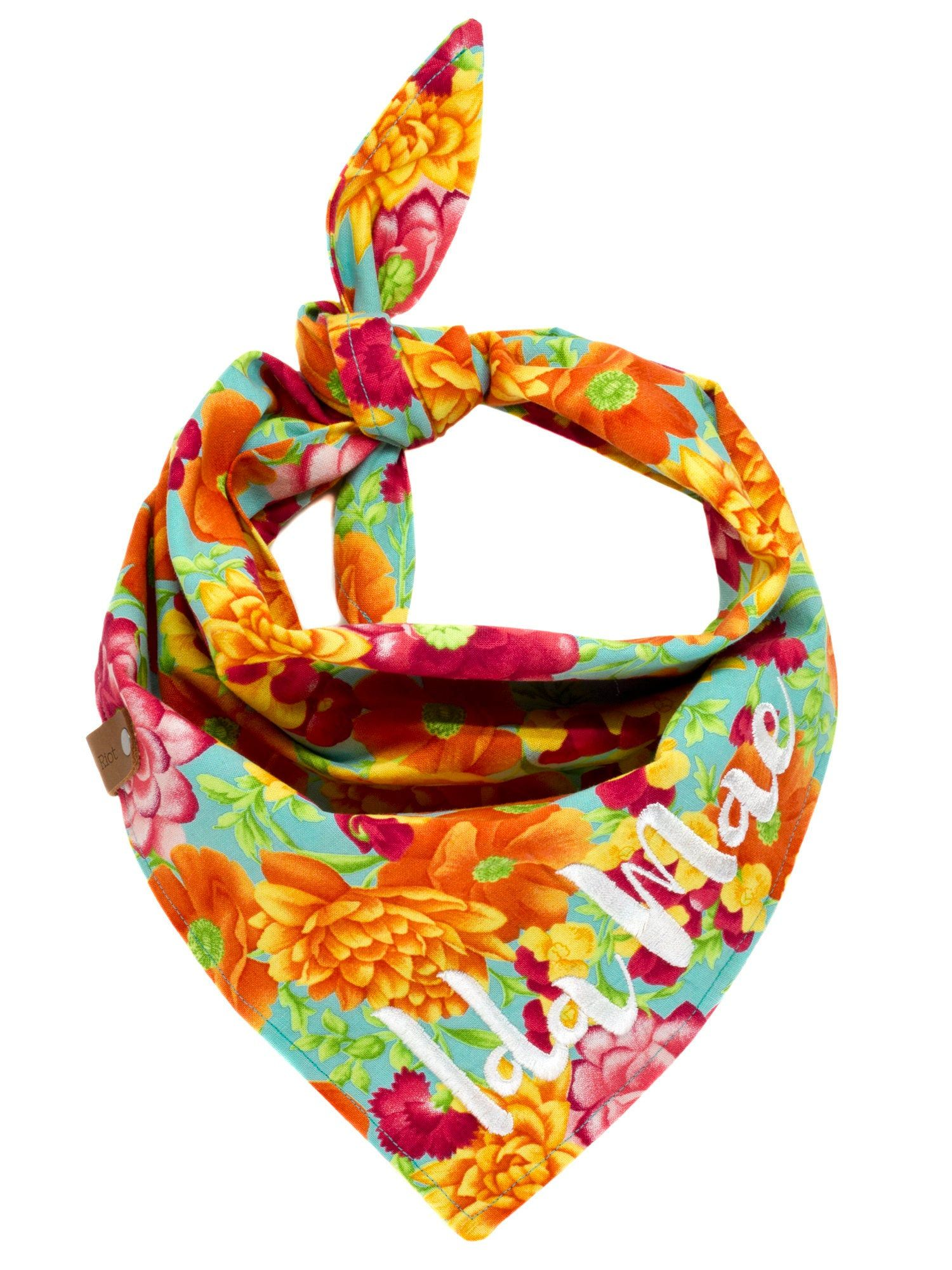 17108aa506e31 Summer Floral Dog Bandana, Scarves Puppy Flowers, Bright Cheerful Pet  Bandanna, Red Orange