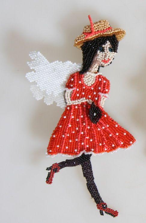 "Anna Dehtyareva, Russia. Brooch ""in France."" beadwork"