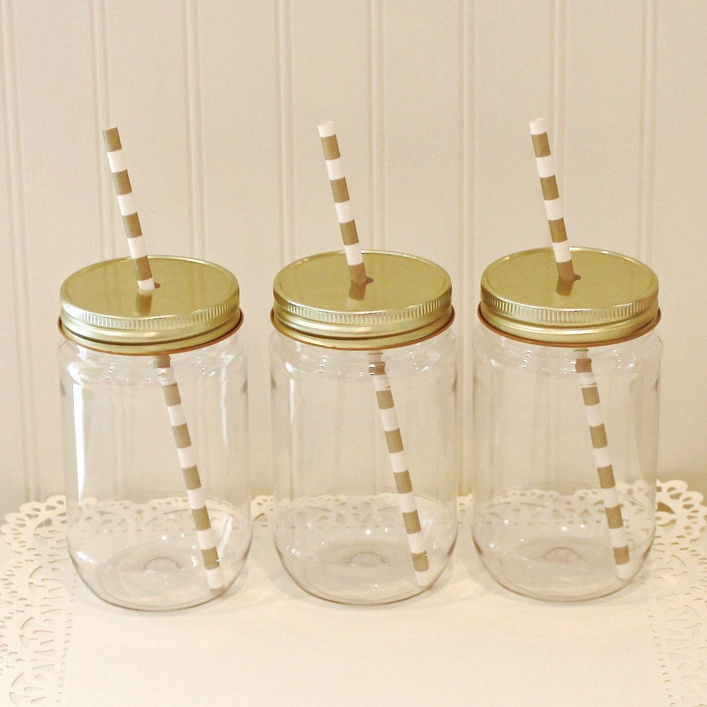 Plastic Mason Jars, 10 Plastic Mason Jars & Metal Lid with Straw ...