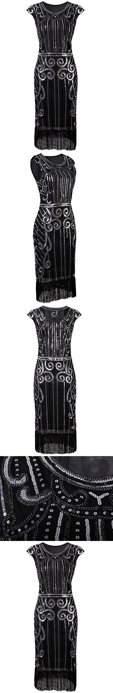 Vijiv s vintage inspired sequin embellished fringe long gatsby