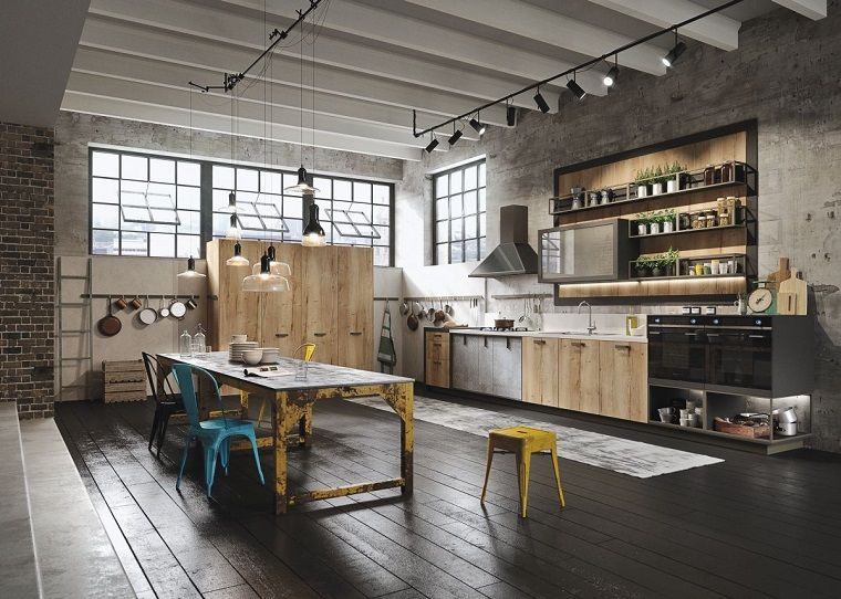 Stile industriale di un loft con illuminazione a faretti home