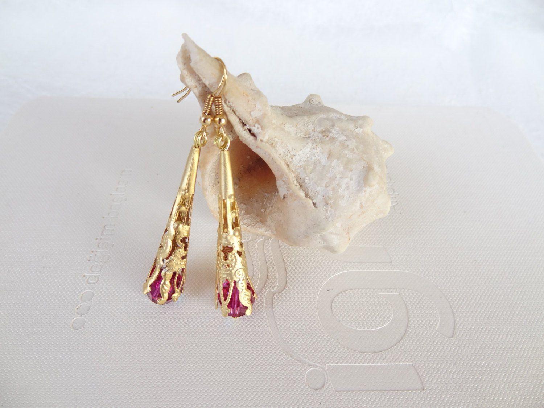 Fuchsia swarovski crystal and gold earrings women for