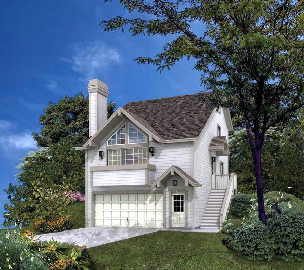 House Plan 86972 | Contemporary Plan with 1332 Sq. Ft., 3 Bedrooms, 2 Bathrooms, 4 Car Garage