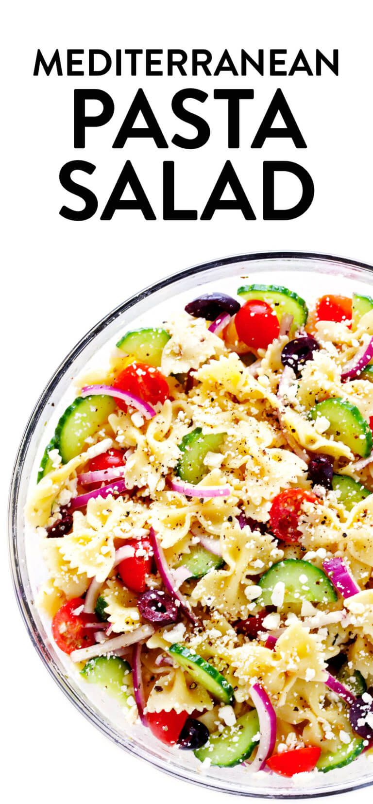 The BEST Mediterranean Pasta Salad Made with your choice of pasta cucumber tomato olives onions feta cheese and a zippy lemon herb vinaigrette Always a crowd fave