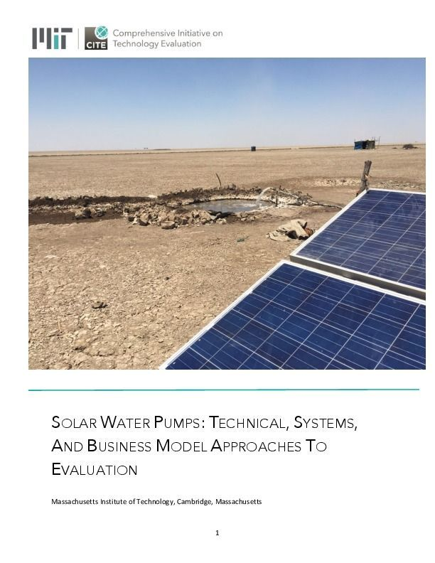 MIT researchers release evaluation of solar pumps for irrigation and - technical evaluation