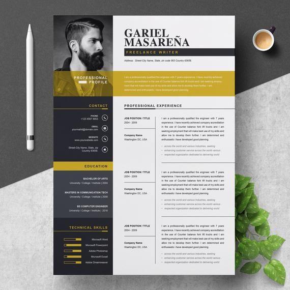 Resume Template Modern Professional Resume Template For Etsy Hojas De Vida Creativas Disenos De Curriculum Vitae Hoja De Vida Disenador