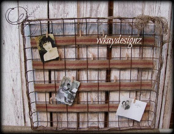 Rusty Bulletin Board Photo Board Jewelry Organizer by WKayDesignz