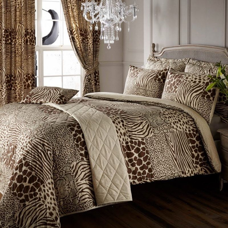 8pc safari animal print super king duvet cover +curtains + ...