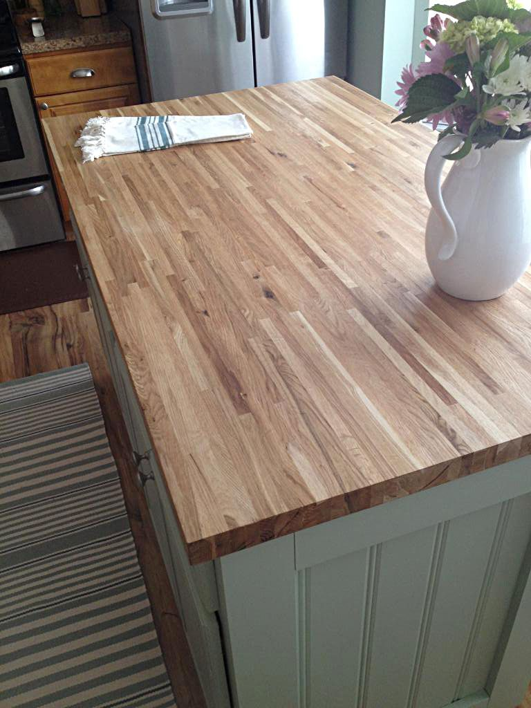 Builder S Oak Butcher Block Island Top From Lumber Liquidators Kitchen Remodel Butcher Block Countertops Countertops