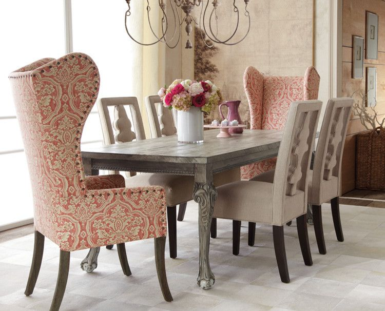 Haute House Liday Dining Table Benjamin Linen Chair And Pink Damask Wing
