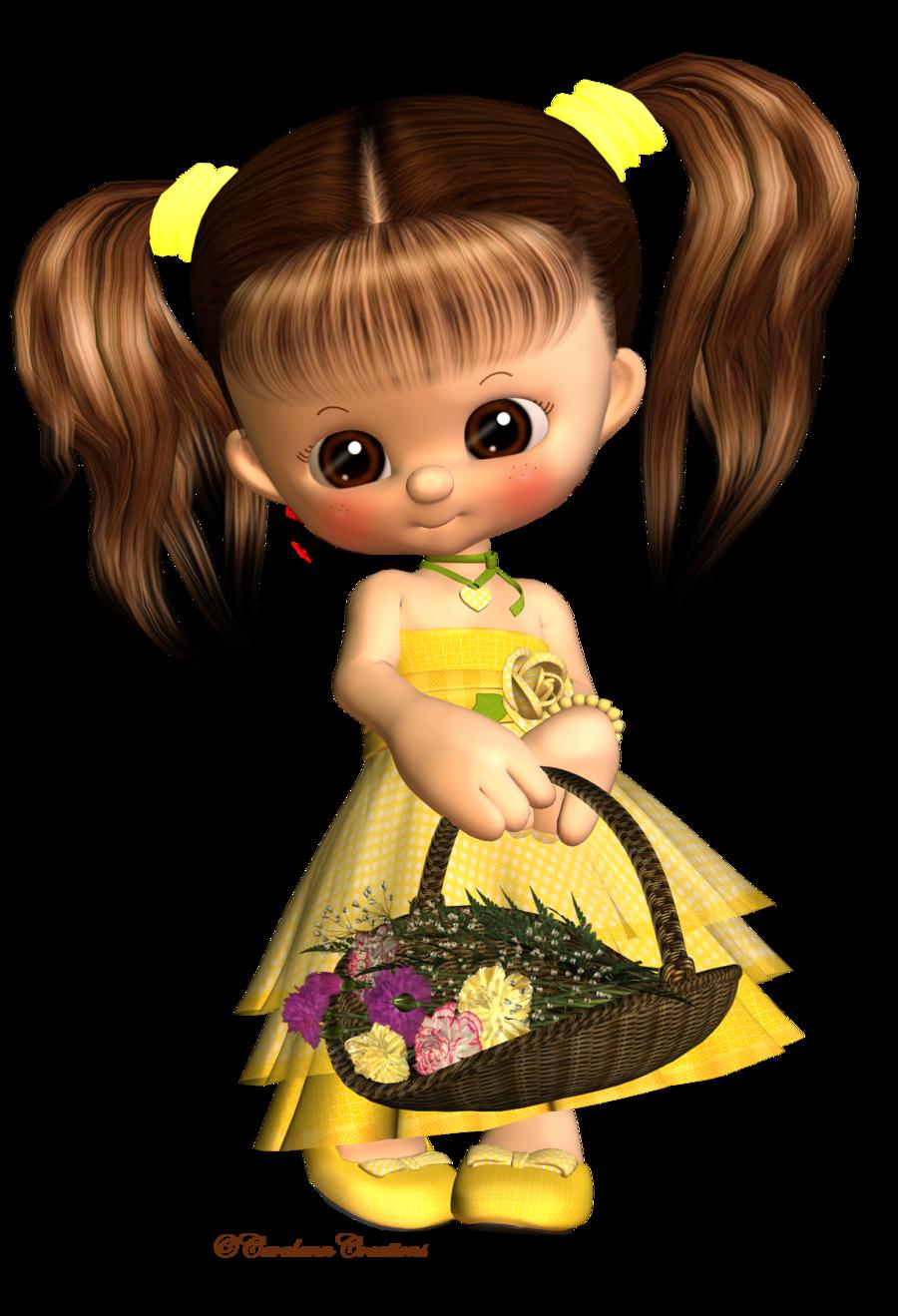 Little Flower Girl by CarolannW Cute art, Cute cartoon