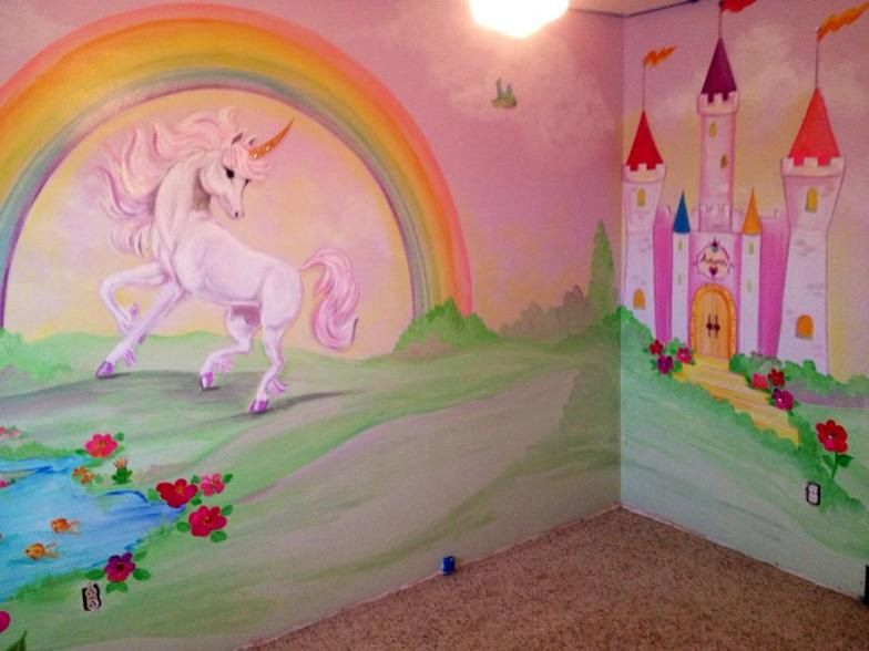 Rainbow unicorn toadstool mural google search girls for Rainbow kids room
