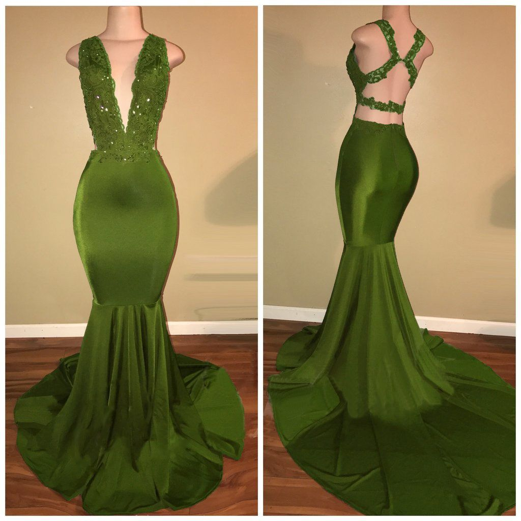 Green sleeveless vneck lace mermaid prom dresses lace mermaid