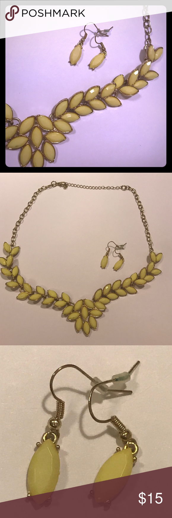 Yellow necklace & earring set Yellow and gold necklace and earring set. Short chain Jewelry Necklaces