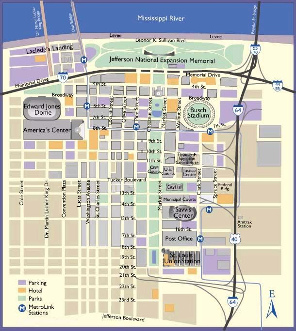 Saint-Louis Maps Downtown Attractions   St. Louis Downtown ...