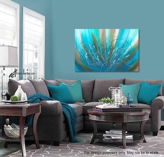 Blue Brown Bedroom Pictures: Bedroom Picture, Flower Art Work / Brown Aqua Blue