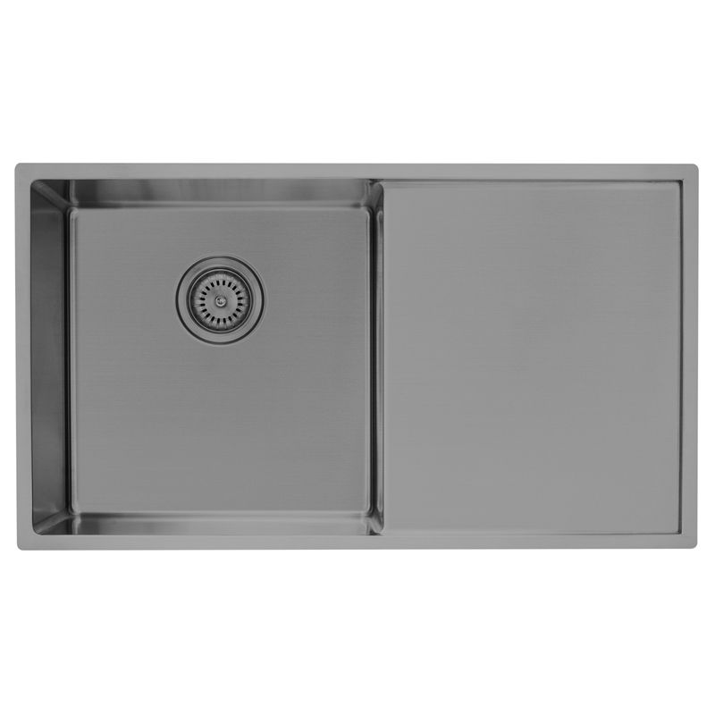 D'LUCCI Gunmetal Grey Single Bowl Sink With Drainer Inset ...