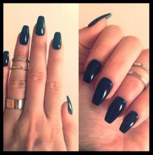 48 Ideas Nails Acrylic Medium Length Black Nails Acrylicnails Acrylic Nails Medium Length In 2020 Types Of Nails Shapes Types Of Nails Ballerina Nails