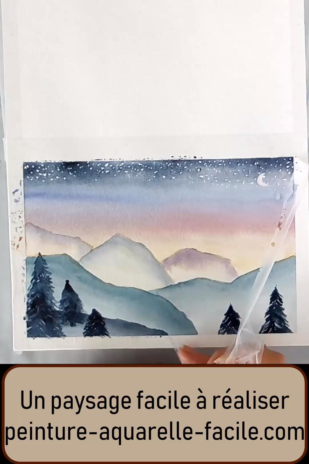 Un paysage étoilé à la peinture aquarelle facile et rapide à réaliser (tuto aquarelle vidéo) #aquarelle