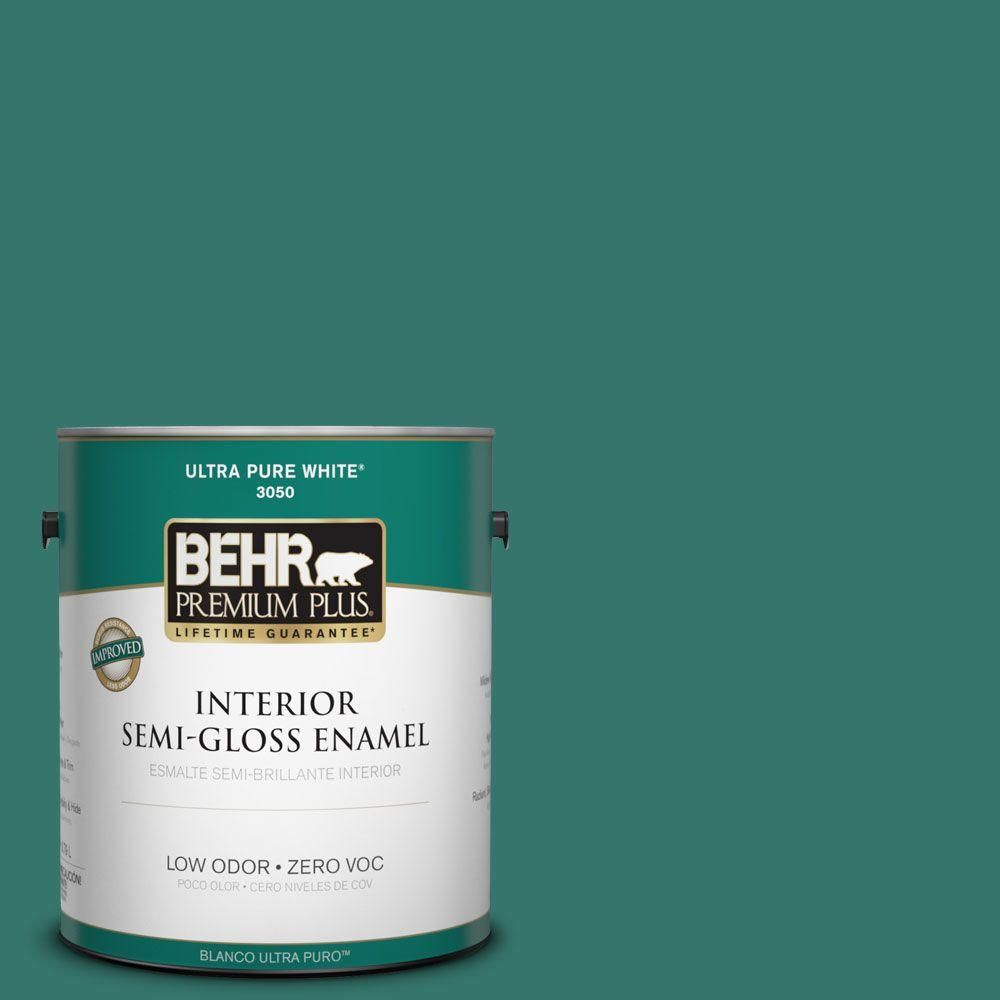 BEHR Premium Plus 1-gal. #490D-7 Greensleeves Zero VOC Semi-Gloss Enamel Interior Paint