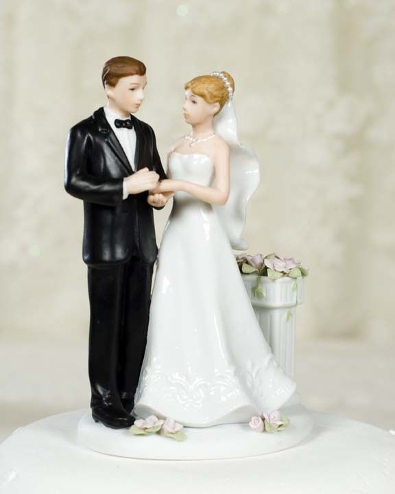 Rose Garden Traditional Wedding Cake Toppers