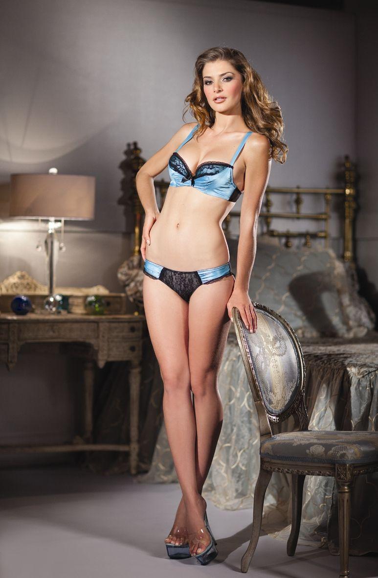 0c76bcb17a48 Sexy Be Wicked Aqua Blue Black Satin Shelf Bra & Panty Lingerie Set