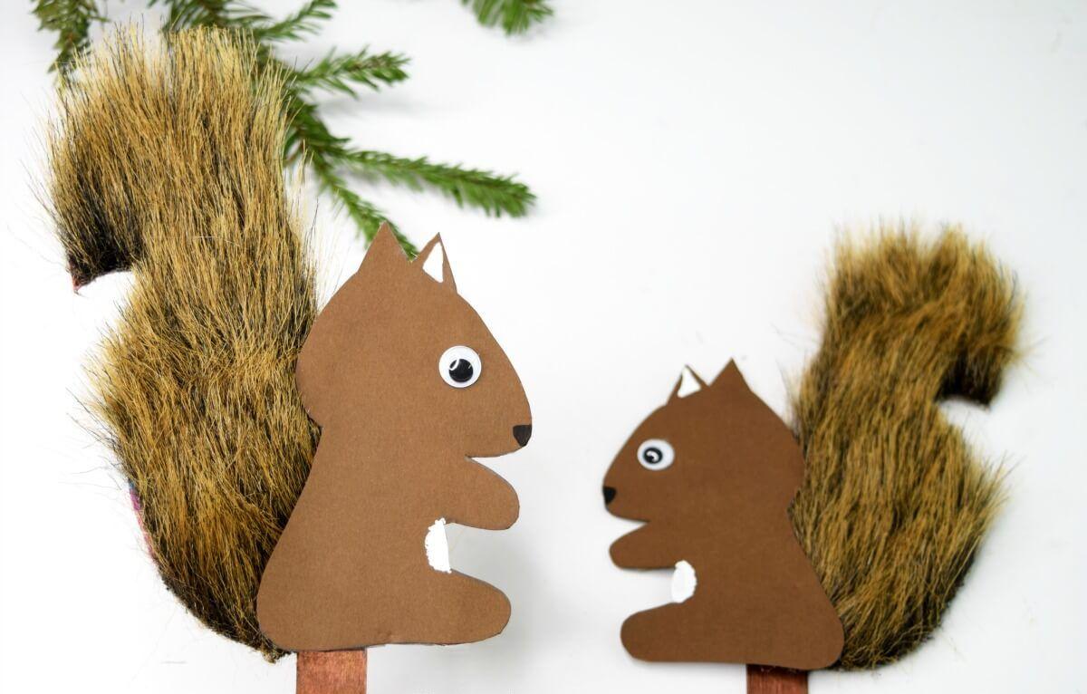 Eichhörnchen basteln: Herbstdeko mit Kindern im Kindergartenalter selber machen