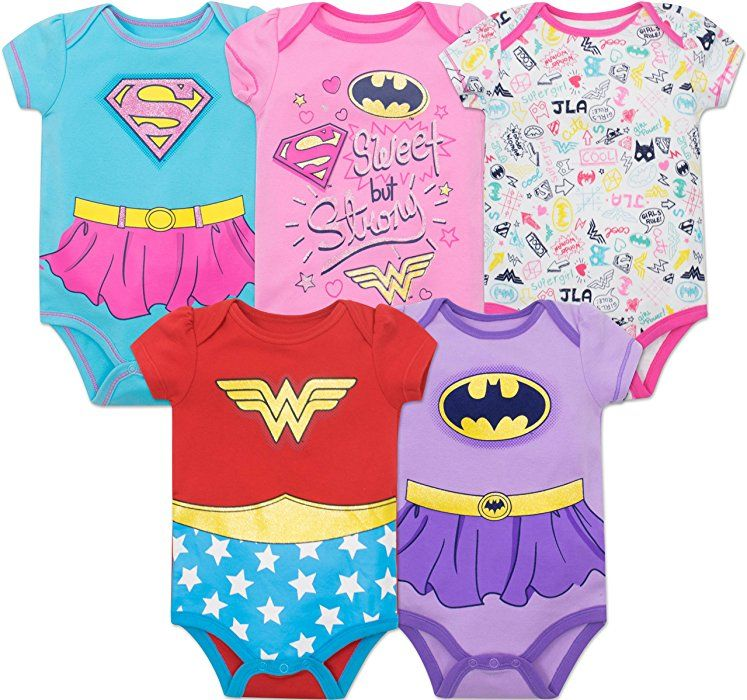eee388cdc985 Amazon.com  Justice League Baby Girls  5 Pack Onesies - Wonder Woman ...