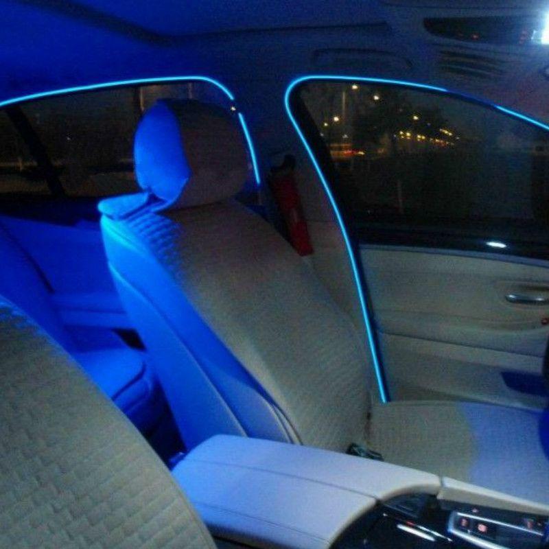2pcs 1m2m3meters flexible neon light glow el salon wire flat led strip for car lights with