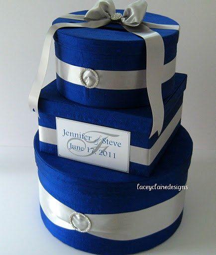 Wedding Gift Box Card Holder - Royal Blue Silver Custom Made ...