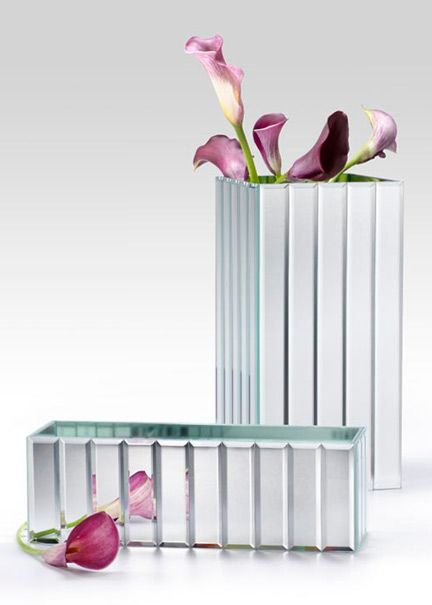 Mirror Strips Rectangle Square Vase Flowers Pinterest