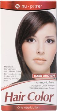 Nu-Pore Hair Color, Dark Brown  Nu-Pore Hair Color uses an ammonia free permanent cream to provide maximum conditioning with vibrant color. Use Nu-Pore for rich, radiant, long lasting color and beautiful healthy looking hair.