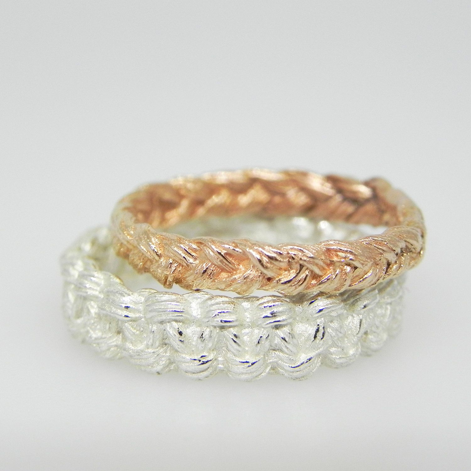 Braided Infinity Ring and Square Knot Wedding Band Set